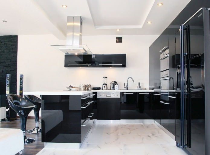 Дизайн кухни с черным гарнитуром: 90 стильных фото и идей