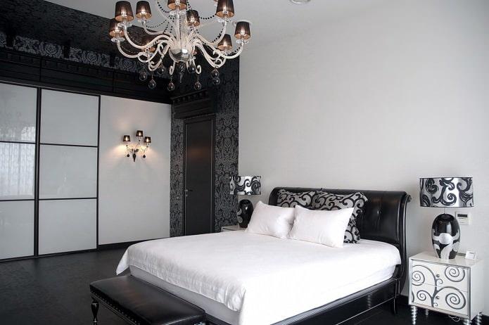 интерьер спальни в черно-белых тонах