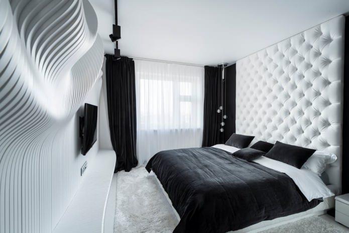 Интерьер спальни в черно-белом