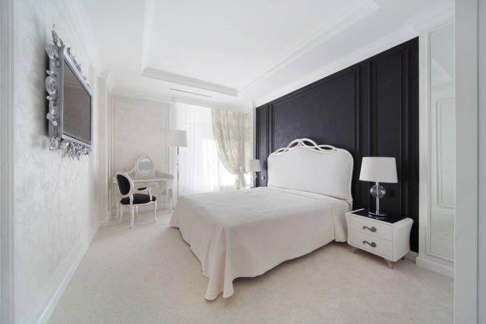 черно-белый дизайн интерьера спальни