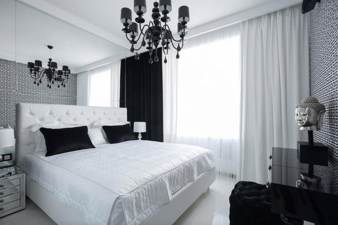 интерьер спальни в черно-белых цветах
