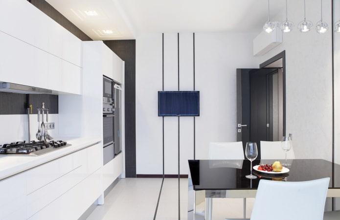 интерьер кухни в черно-белых тонах