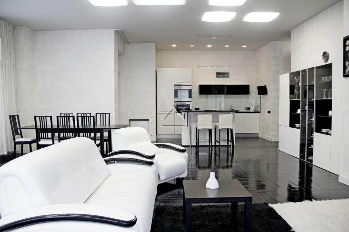 Черно-белый интерьер кухни-гостиной