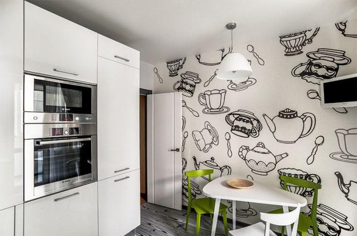 черно-белый интерьер кухни с добавлением зеленого цвета