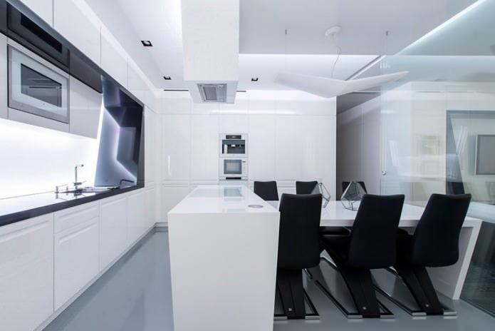 черно-белый дизайн интерьера кухни