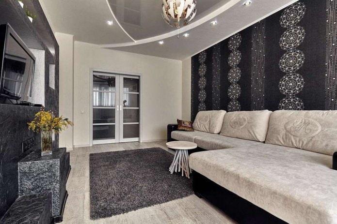черно-бежевые стены в гостиной