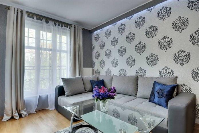 Современный дизайн обоев для гостиной