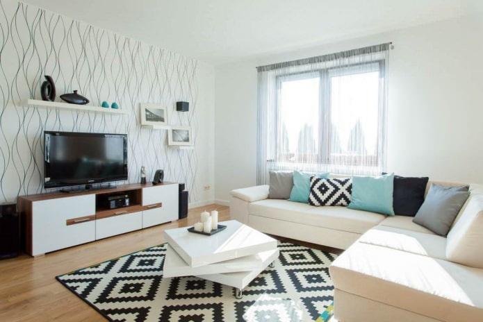 Светлые обои в гостиной в современном стиле