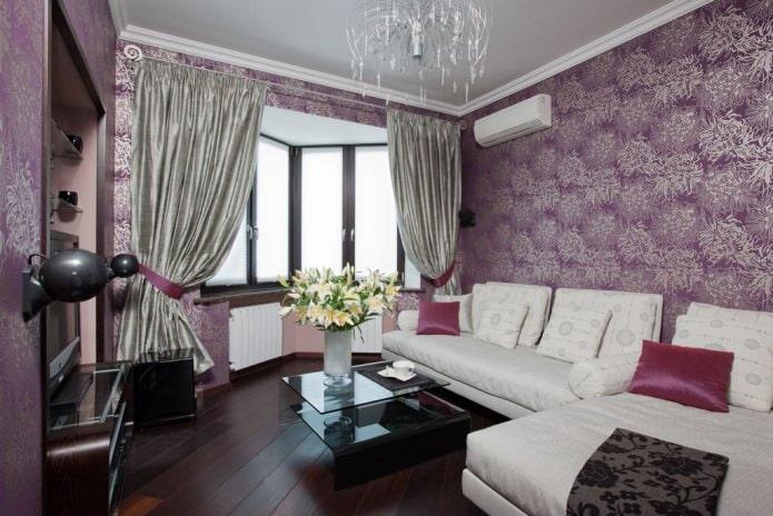 красивые фиолетовые обои в гостиной