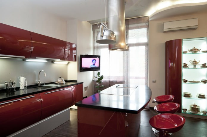 островная барная стойка в интерьере кухни