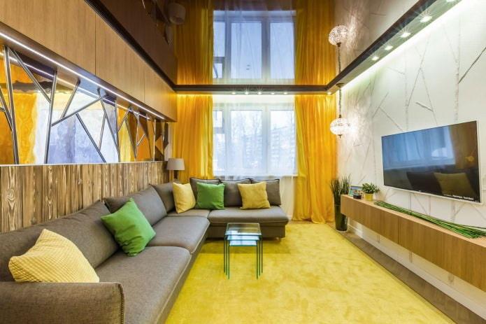 гостиная с желтыми занавесками