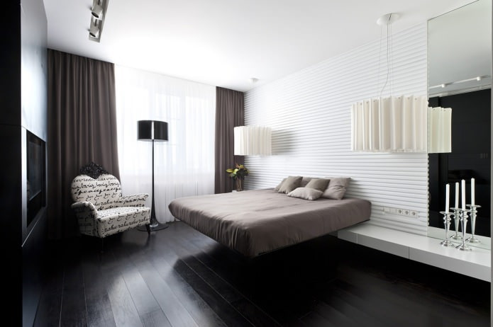 Черный ламинат в интерьере спальни