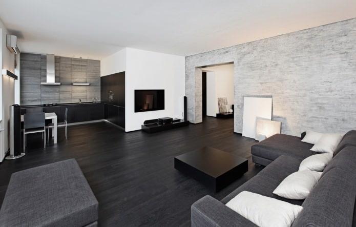 Черный ламинат в интерьере гостиной