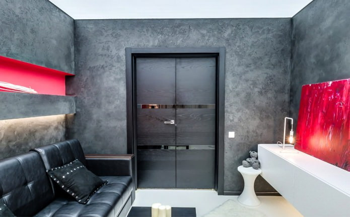 межкомнатная дверь в интерьере гостиной