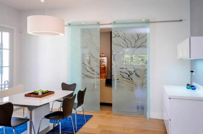 стеклянная раздвижная межкомнатная дверь в интерьере