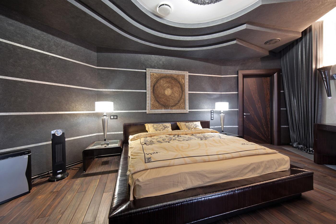 дизайн спальни с темно-серыми обоями