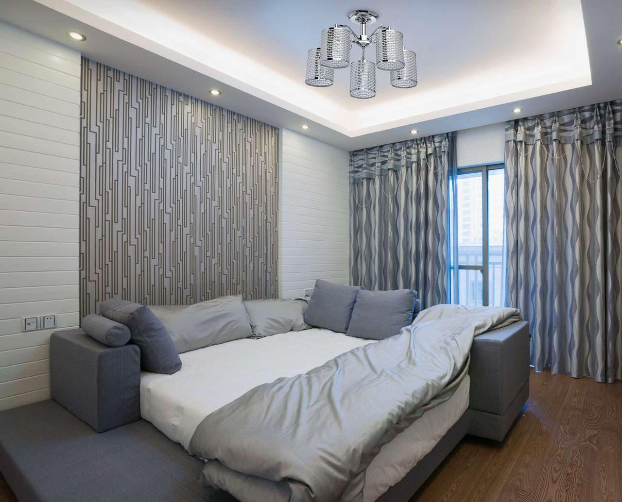серые шторы в дизайне спальни с серыми обоями