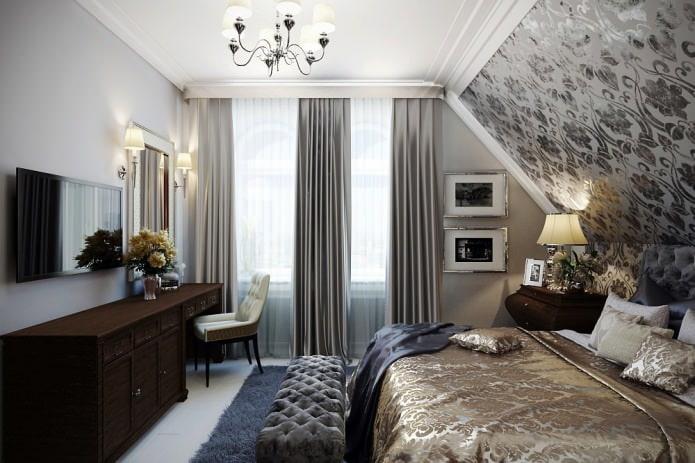 серые и белые шторы в дизайне спальни с серыми обоями