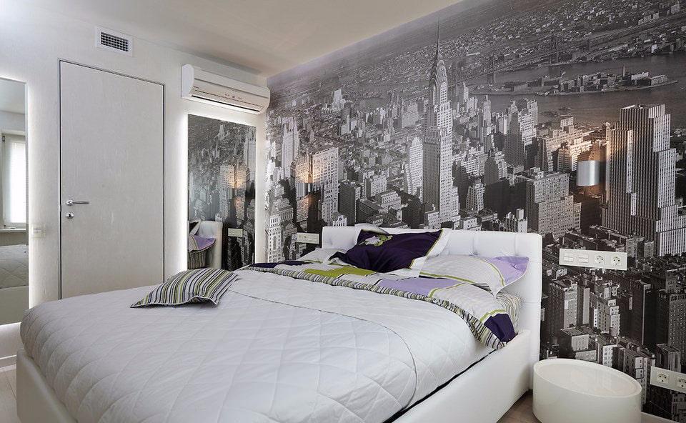 Серые фотообои в спальне