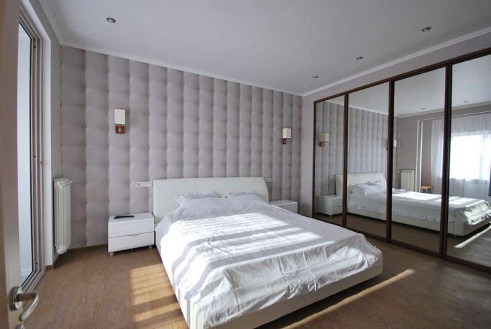 серые обои с 3Д-эффектом в спальне