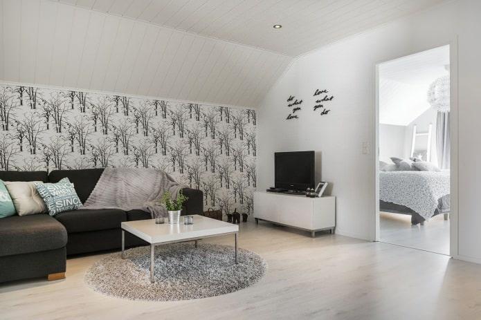 55 фото белых и черно-белых обоев в интерьере гостиной комнаты