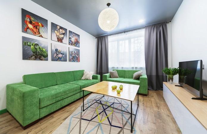 Белые стены в дизайне гостиной
