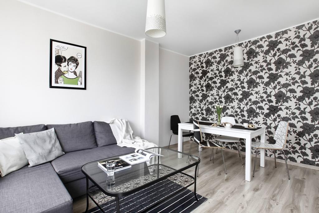 55 фото белых и черно белых обоев в интерьере гостиной комнаты