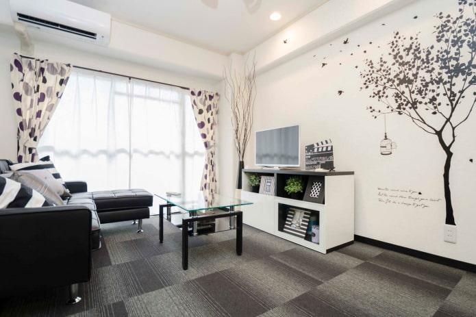 Монохромный черно-белый интерьер гостиной