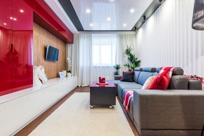 точечное освещение в гостиной с натяжными потолками