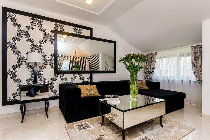 комбинированные черно-белые обои в гостиной