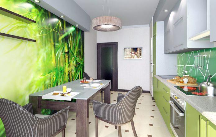 Дизайн кухни с зелеными обоями: 55 современных фото в интерьере - 15