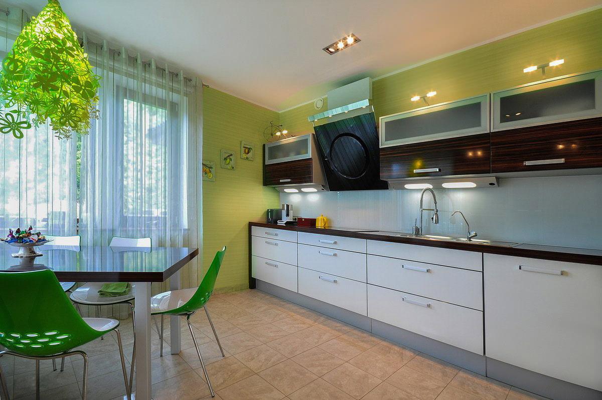зеленые обои на кухне фото дизайн