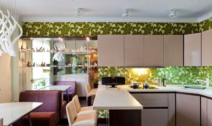 Дизайн кухни с зелеными обоями: 55 современных фото в интерьере - 17