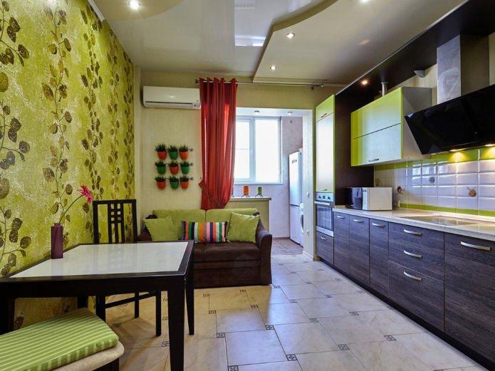 Papel pintado verde en la cocina