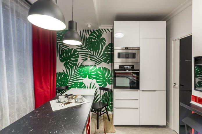 Шторы на кухню с зелеными обоями