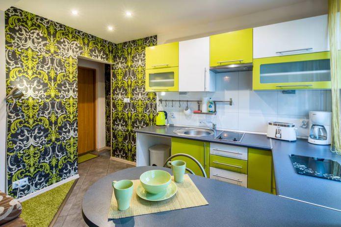 Дизайн кухни с зелеными обоями: 55 современных фото в интерьере - 23