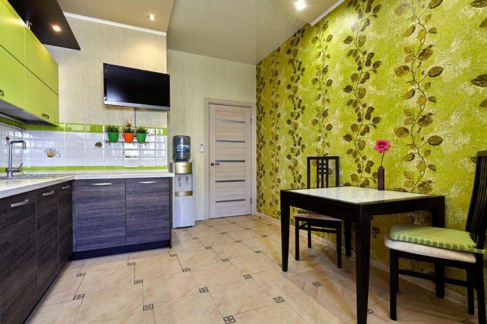 Дизайн кухни с зелеными обоями: 55 современных фото в интерьере - 18