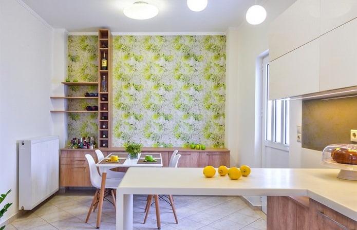 Дизайн кухни с зелеными обоями: 55 современных фото в интерьере - 16