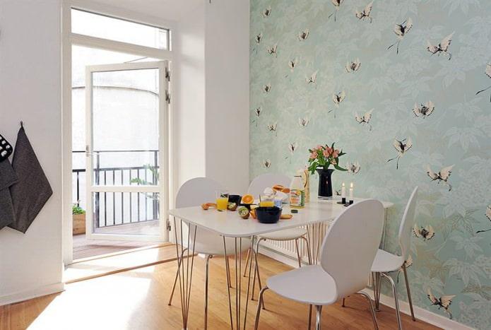 Дизайн кухни с зелеными обоями: 55 современных фото в интерьере - 38