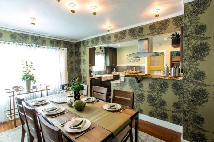 Дизайн кухни с зелеными обоями: 55 современных фото в интерьере - 25