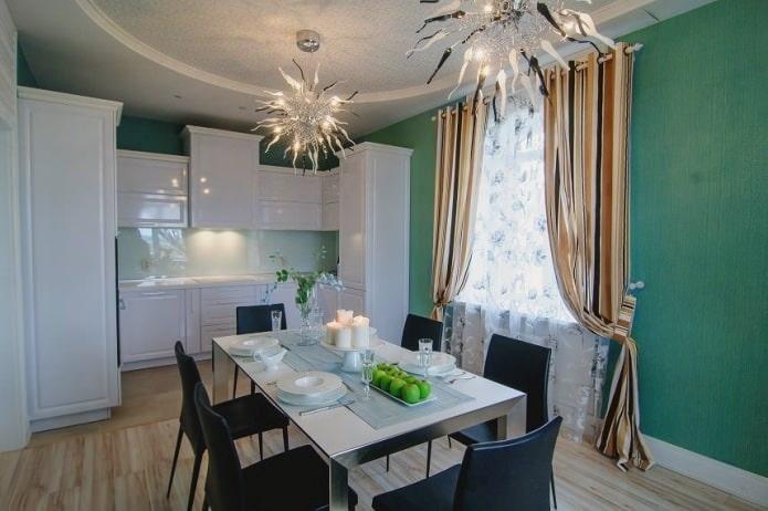 Дизайн кухни с зелеными обоями: 55 современных фото в интерьере - 28
