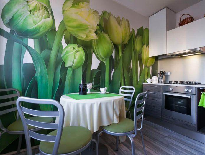 Зеленые фотообои с изображением тюльпанов в дизайне кухни