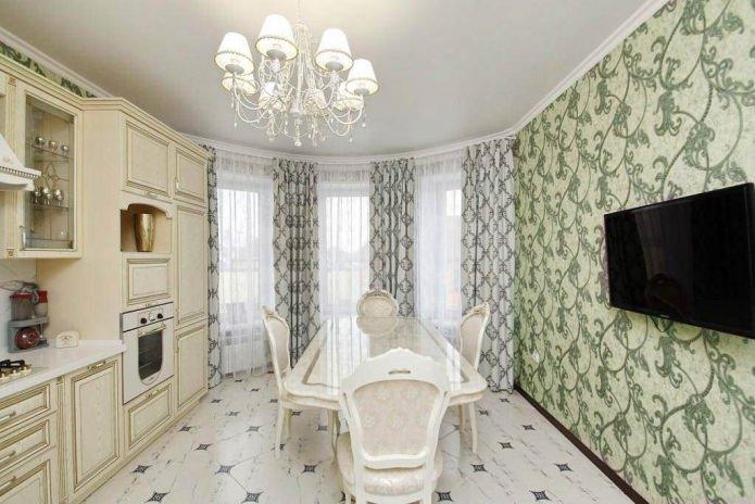 Дизайн кухни с зелеными обоями: 55 современных фото в интерьере - 11