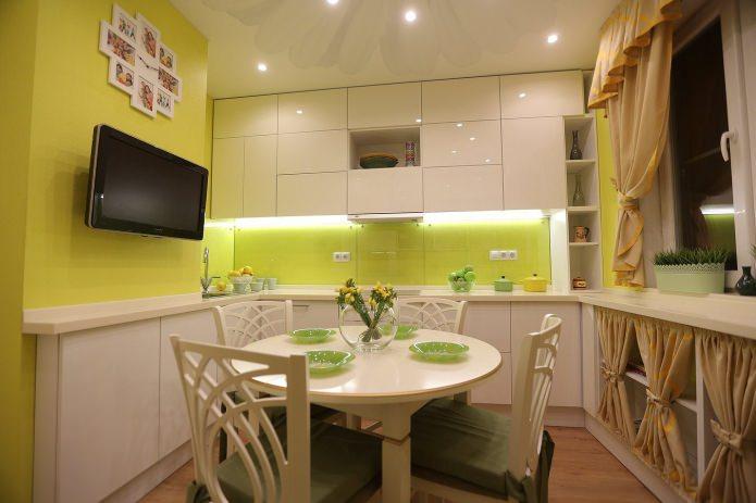 Дизайн кухни с зелеными обоями: 55 современных фото в интерьере - 20