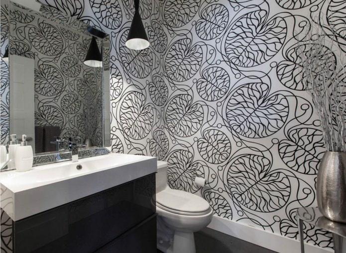 дизайн туалета в черно-белом цвете