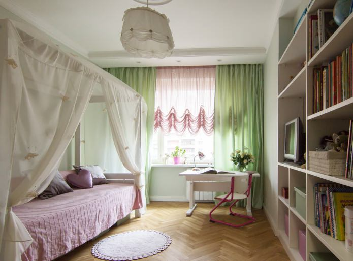 зеленый и розовый тюль