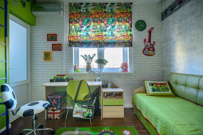 детская комната в стиле футбол и граффити