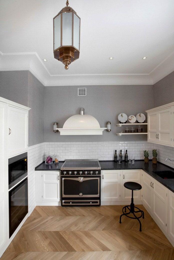 Дизайн белой кухни с черной столешницей: 80 лучших идей, фото в интерьере - 29