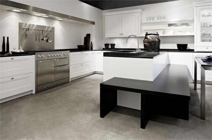 Дизайн белой кухни с черной столешницей: 80 лучших идей, фото в интерьере - 23