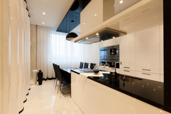 Дизайн белой кухни с черной столешницей: 80 лучших идей, фото в интерьере - 48